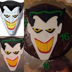 Joker Face Cake for my stepson who turns 16 tomorrow. Chocolate on chocolate. #jokerfacecake