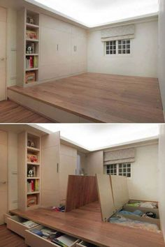 Awesome storage idea...should we do one bedroom like this? No need bed, just put mattress on top lol.