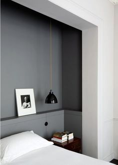 grey niche for the bed