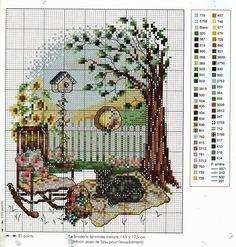 """""""Black Cat in Spring"""" Counted Cross Stitch pattern with color chart. Cross Stitch House, Cross Stitch Boards, Cross Stitch Tree, Just Cross Stitch, Cross Stitch Animals, Counted Cross Stitch Patterns, Cross Stitch Designs, Cross Stitch Embroidery, Cross Stitch Landscape"""