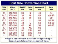 Convert Letter To Number Clothing Size
