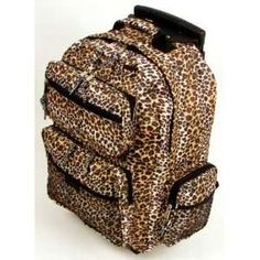 Leopard Print Bookbags On Wheels