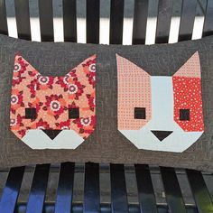 Be sure to check out my Projects Page too! This is the Cat Friends pillow, a free add-on to #kittensquilt pattern made with #rhodaruthfabric (It's a lot like the Fox and Hedgehog Pillows I made earlier this year.)