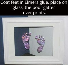 Baby or toddler feet framed in glitter