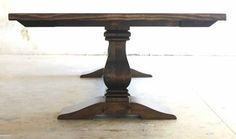 10ft dark walnut stained hand-build heirloom trestle dining table with column style pedestal trestle base solid wood