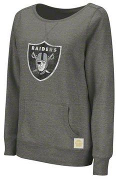 Oakland Raiders Women's Heatherd Storm Primary Logo Vintage Pullover Crew