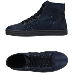 Hogan Rebel High-tops & Sneakers (£129) ❤ liked on Polyvore featuring shoes, sneakers, dark blue, hi tops, dark blue sneakers, leather flat shoes, flat shoes and high top sneakers