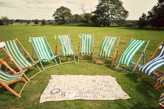 Could be a cool way to offer seating for older people and still have the casual sit on the lawn too - Chichester Picnic Wedding