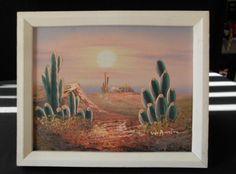 Arizona Desert Sonora Cactus sunset signed Oil Painting. $22.00, via Etsy.