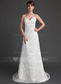 Corte A/Princesa Escote corazón Barrer de tren Satén Encaje Vestido de novia con Bordado.