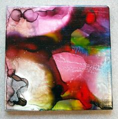 Alcohol ink tile by Gr. 1!  Tiles from home depot, seal w/ mod lodge.  Like a mini-Frankenthaler?