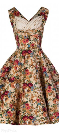 Maid of honor Lindy Bop 'Ophelia' Vintage Floral Spring Garden Party Picnic Dress 50s Dresses, Pretty Dresses, Vintage Dresses, Vintage Outfits, Vintage Clothing, Fashion Moda, 1950s Fashion, Vintage Fashion, Womens Fashion
