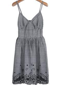 Black Spaghetti Strap Plaid Embroidered Dress 18.33