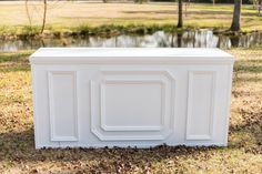 Three White Bars with White Pedestals Combine to make this complete large bar configuration Bar - 7 ft x ft x ft; Pedestal - 2 ft x 2 ft x ft Reception Counter, Bar Counter, White Bar, White Wood, Bar Mobile, Outdoor Projects, Outdoor Decor, Bridal Shower Decorations, Wedding Decorations