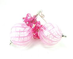 Pink White Murano Blown Glass Earrings Pink by GlassRiverJewelry, $42.00
