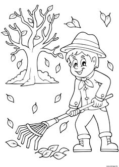 automne ramasser les feuilles coloriage Fall Coloring Pages, Adult Coloring Book Pages, Christmas Coloring Pages, Coloring Books, Halloween Doodle, Halloween Drawings, Bird Drawings, Colorful Drawings, Coloring Pictures For Kids