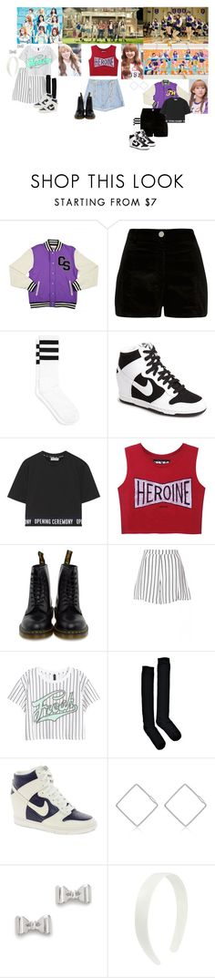 """Twice - Cheer Up MV"" by jadapotterkpoplover ❤ liked on Polyvore featuring River Island, NIKE, Opening Ceremony, Dr. Martens, H&M, Boohoo, J.ESTINA and Marc by Marc Jacobs"