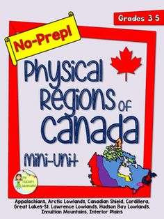 This no-prep pack comes with information and questions about the 8 Physical Regions of Canada - *The Appalachians *Arctic Lowlands *Canadian Shield *Cordillera *Great Lakes-St. Social Studies Activities, Science Worksheets, Teaching Social Studies, Worksheets For Kids, Science Lessons, Teaching Resources, Geography Of Canada, Canadian Social Studies, Canada For Kids