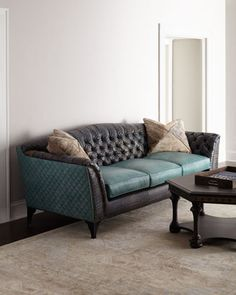 Charming Trey Tufted Leather Sofa By Old Hickory Tannery At Neiman Marcus.