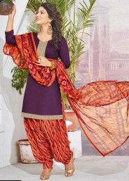Casual Wear Purple Glace Cotton Lace Border Work Patiala Suit