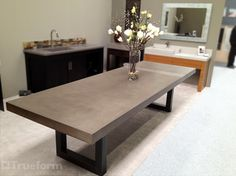 Contemporary dining table with a concrete table top and steel base. Custom Dining Tables, Contemporary Dining Table, Contemporary Home Decor, Dining Table In Kitchen, Patio Table, Table Lamp, Concrete Table Top, Concrete Kitchen, Concrete Overlay