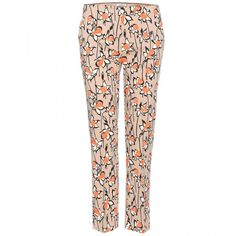 Miu Miu Printed Wool-Twill Trousers ($260) ❤ liked on Polyvore featuring pants, jeans, calça, trousers, miu miu, neutrals, wool trousers, woolen pants, twill pants and twill trousers