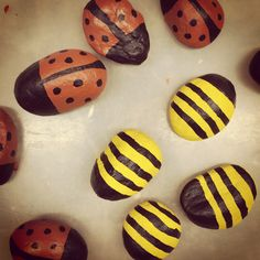 Tic tac toe painted beach rock ladybugs and bumble bees