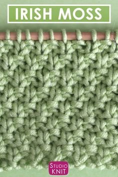 It's the luck of the Irish! Learn how to Knit the Irish Moss Knit Stitch Free Knitting Pattern + Video Tutorial by Studio Knit. #StudioKnit #knitstitchpattern #knittingvideo #howtoknit #freeknittingpattern