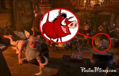 Pumba (The Lion King) in Tangled - disney crossover Image. Disney is tricky! I found out that Eric's maid in The Little Mermaid is wearing Cinderella's maid dress from Cinderella.