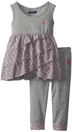 Amazon.com: U.S. POLO ASSN. Little Girls' Ruffled Tank Top with Capri Leggings, Heather Grey/Pink, 6X: Clothing