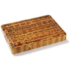 "20"" End Grain Rectangle Carving Board with Hand Grip and Juice Canal (End Grain Teak) (2.5""H x 14""W x 20""D)"
