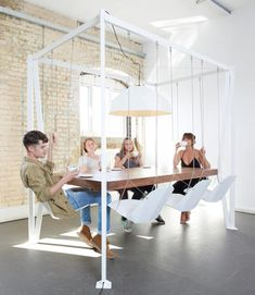 The swing table is a large conference table that uses swings as the chairs. Great for conference rooms, meeting rooms, or board rooms, the swing table will give your employees a bit of enjoyment inbet. Swing Table, Swing Chairs, Hanging Chairs, Swing Seat, Hanging Table, Play Swing, Room Chairs, Sweet Home, My New Room