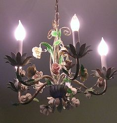 1940s (or so?) Italian tole chandelier with porcelain roses for my daughter's bedroom.