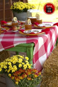 Fall Farmhouse Outdoor Dining | Creative Cain Cabin!!! Bebe'!!! Cute Gingham Check Tablescape!!!