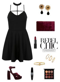 """""""Rebel chic"""" by bohoflover ❤ liked on Polyvore featuring WithChic, Miu Miu, Dolce&Gabbana, Edie Parker, Carelle, H&M, NARS Cosmetics and MAC Cosmetics"""