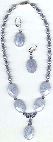 #Fashion jewellery  #GM100 necklace set, blue lace agate and Austrian crystal