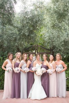 Bridesmaids in Jenny Yoo Annabelle Dress in Mist Grey, Blush & Soft Plum