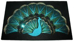 PEACOCK STRING ART Picture Wall Hanging Vintage