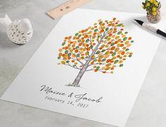Guest Book empreinte arbre Fair pouce impression bouleau