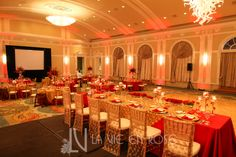 Head table staged higher than guest tables for an added effect