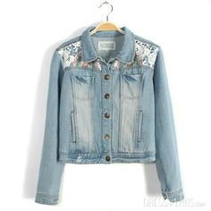 Brilliant Split Joint Lace Embroidery Chinese Style Denim Jacket