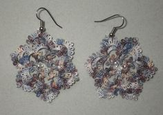 large riverstone tatted earrings with Swarovski by TattingByWendy