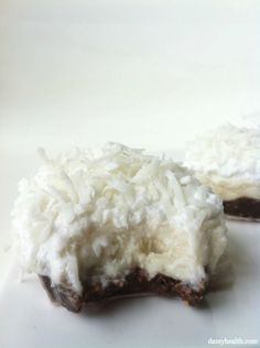 Raw Coconut Cream Pie with Dark Chocolate Crust...gluten free, sweet and creamy, personal sized no-bake pies!