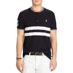 Polo Ralph Lauren Featherweight Custom Slim Fit Henley Polo Shirt ($99) ❤ liked on Polyvore featuring men's fashion, men's clothing, men's shirts, men's polos, mens slim fit shirts, polo ralph lauren mens shirts, mens double layer t shirt, mens slim shirts and mens henley shirts