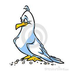 Bird Seagull cartoon illustration isolated image animal character