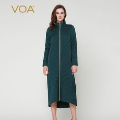 Find More Down & Parkas Information about VOA dark green stand collar down zip silk jacquard long Cotton padded jacket ladies winter coat M7239,High Quality coat short,China coated glove Suppliers, Cheap coated mug from VOA Flagship Shop on Aliexpress.com