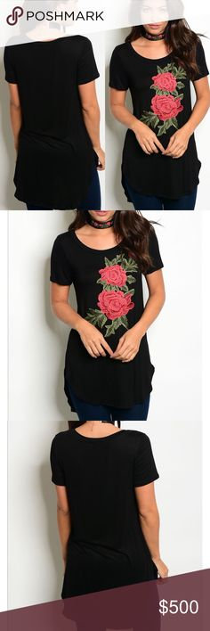 🆕black floral patch short sleeve tee Hot trend 🚨 alert!! This BlackScoop Neck Short Sleeve Top features a beautiful and trendy Floral Applique. It is lightweight and very soft made of 96%rayon and 4% spandex spandex with some stretch. Relaxed fit and can be ordered a size down to be a bit more fitted. BellaBae Tops Tees - Short Sleeve