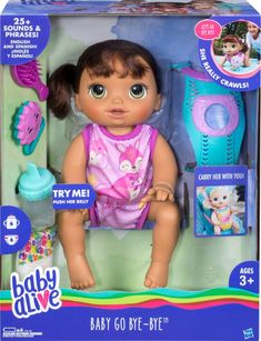 Baby Alive Baby Go Bye Bye: Brunette Hair Doll, Ages 3 and up Image 2 of 2 Baby Dolls For Kids, Toys For Girls, Kids Toys, Baby Alive Doll Clothes, Baby Alive Dolls, Lol Dolls, Barbie Dolls, Muñeca Baby Alive, Bye Bye Baby