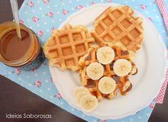 Waffles Belgas {Receita Bimby} com doce de leite e banana