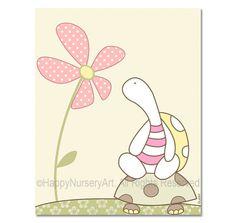 LOVE THIS!!!  http://www.etsy.com/listing/87297814/girls-nursery-wall-art-print-pink-turtle